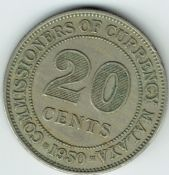 Malaya, George VI, 20 Cents 1950, VF, WB7529